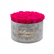 ЛЮБИМОЙ МАМОЧКЕ - EXTRA LARGE LIGHT GREY VELVET BOX WITH HOT PINK ROSES