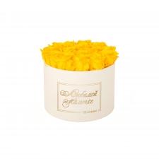 ЛЮБИМОЙ МАМОЧКЕ - LARGE (17 ROSES) CREAM WHITE BOX WITH YELLOW ROSES