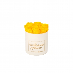 ЛЮБИМОЙ МАМОЧКЕ - SMALL CREAM WHITE BOX WITH YELLOW ROSES