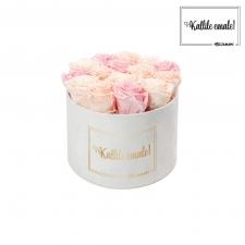 KALLILE EMALE - LARGE (17 ROOSIGA) VALGE SAMETKARP MIX (ICE PINK, PEACHY PINK, BRIDAL PINK) ROOSIDEGA
