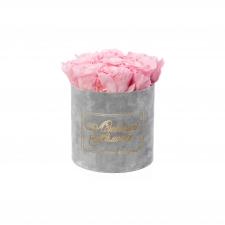 ЛЮБИМОЙ МАМОЧКЕ - MEDIUM LIGHT GREY VELVET BOX WITH BRIDAL PINK ROSES