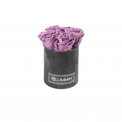 MIDI BLUMMiN - DARK GREY VELVET BOX WITH LILAC ROSES