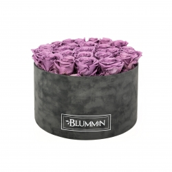 XL BLUMMIN - DARK GREY VELVET BOX WITH LILAC ROSES