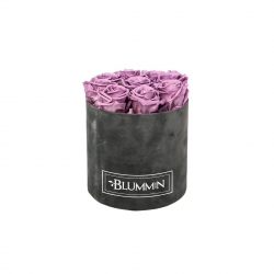 MEDIUM BLUMMIN DARK GREY VELVET BOX WITH LILAC ROSES