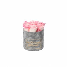 ЛЮБИМОЙ МАМОЧКЕ - SMALL LIGHT GREY VELVET BOX LOVELY PINK ROSES