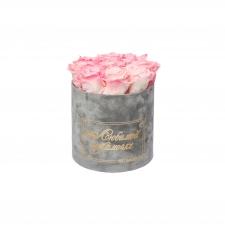 ЛЮБИМОЙ МАМОЧКЕ - MEDIUM LIGHT GREY VELVET BOX WITH LOVELY PINK ROSES