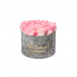 ЛЮБИМОЙ МАМОЧКЕ - LARGE (17 ROSES) LIGHT GREY VELVET BOX WITH LOVELY PINK ROSES