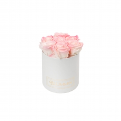 SMALL BLUMMIN WHITE BOX WITH LOVELY PINK ROSES