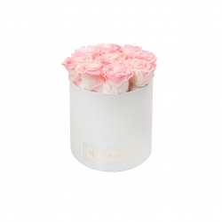MEDIUM WHITE BOX WITH LOVELY PINK ROSES