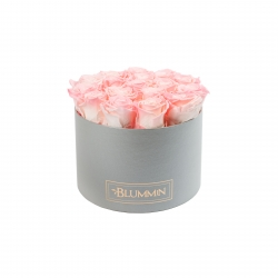 LARGE BLUMMIN LIGHT GREY BOX WITH LOVELY PINK ROSES