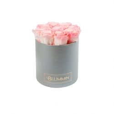 MEDIUM BLUMMIN LIGHT GREY BOX WITH LOVELY PINK ROSES