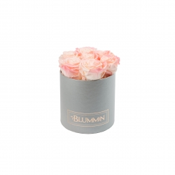 SMALL BLUMMIN LIGHT GREY BOX WITH LOVELY PINK ROSES