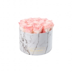 LARGE BLUMMIN WHITE MARBLE BOX WITH LOVELY PINK ROSES
