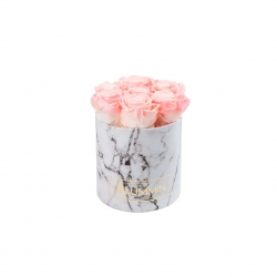 SMALL BLUMMIN WHITE MARBLE BOX WITH LOVELY PINK ROSES