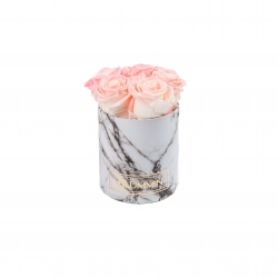 MIDI BLUMMIN WHITE MARBLE BOX WITH LOVELY PINK ROSES