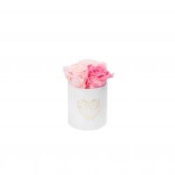 LOVE XS WHITE VELVET BOX WITH BABY PINK & BRIDAL PINK ROSES