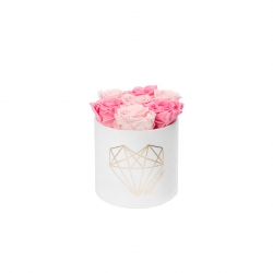 LOVE SMALL WHITE VELVET BOX WITH BABY PINK & BRIDAL PINK ROSES