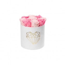 LOVE MEDIUM WHITE VELVET BOX WITH BABY PINK & BRIDAL PINK ROSES