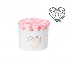 LOVE LARGE - valge sametkarp LOVELY PINK roosidega