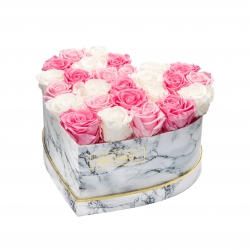 MARBLE FLOWERBOX WITH 25-27 MIX ROSES