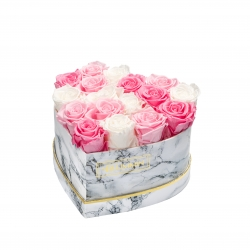 MARBLE FLOWERBOX WITH 17 MIX ROSES