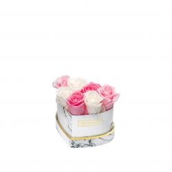 MARBLE FLOWERBOX WITH 7 MIX ROSES