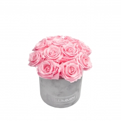 BOUQUET WITH 11 ROSES - SMALL LIGHT GREY VELVET BOX WITH BRIDAL PINK ROSES