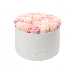 EXTRA LARGE BLUMMIN WHITE VELVET BOX WITH MIX (ICE PINK, PEACHY PINK, BRIDAL PINK) ROSES