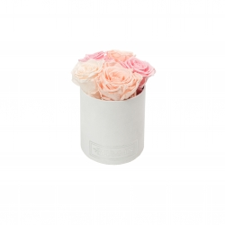 MIDI BLUMMiN - WHITE VELVET BOX WITH MIX (ICE PINK, PEACHY PINK, BRIDAL PINK) ROSES
