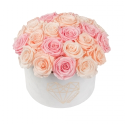 BOUQUET WITH 25 ROSES - LARGE LOVE WHITE VELVET BOX WITH MIX (ICE PINK, PEACHY PINK, BRIDAL PINK) ROSES