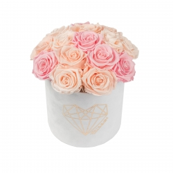 BOUQUET WITH 15 ROSES - MEDIUM LOVE WHITE VELVET BOX WITH MIX (ICE PINK, PEACHY PINK, BRIDAL PINK) ROSES