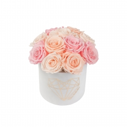 BOUQUET WITH 11 ROSES - SMALL LOVE WHITE VELVET BOX WITH MIX (ICE PINK, PEACHY PINK, BRIDAL PINK) ROSES