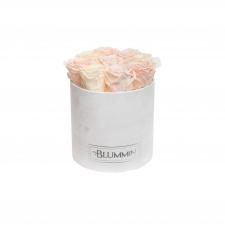 MEDIUM BLUMMiN BLUMMiN WHITE VELVET BOX WITH MIX (ICE PINK, PEACHY PINK, CHAMPAGNE) ROSES