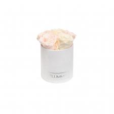 MIDI BLUMMiN BLUMMiN WHITE VELVET BOX WITH MIX (ICE PINK, PEACHY PINK, CHAMPAGNE) ROSES
