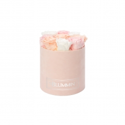 MEDIUM BLUMMIN LIGHT PINK VELVET BOX WITH MIX ROSES