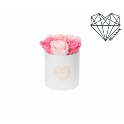 MIDI LOVE - WHITE VELVET BOX WITH BABY PINK & BRIDAL PINK ROSES