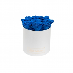 MEDIUM BLUMMIN WHITE BOX WITH OCEAN BLUE ROSES
