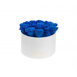 LARGE BLUMMIN - WHITE BOX WITH OCEAN BLUE ROSES