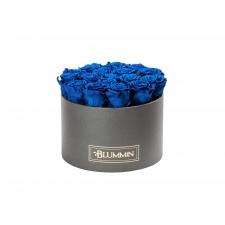LARGE BLUMMiN - DARK GREY BOX WITH OCEAN BLUE ROSES