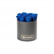 MEDIUM BLUMMiN - DARK GREY BOX WITH OCEAN BLUE ROSES