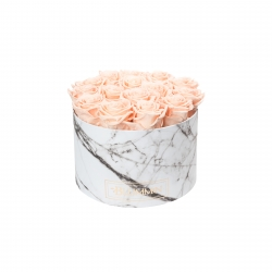 LARGE WHITE MARBLE BOX WITH PEACHY PINK ROSES