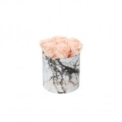 SMALL BLUMMiN - WHITE MARBLE BOX WITH PEACHY PINK ROSES