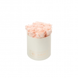 SMALL BLUMMIN CREAMY BOX WITH PEACHY PINK ROSES