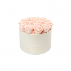 LARGE BLUMMIN CREAMY BOX WITH PEACHY PINK ROSES