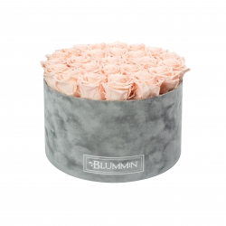 EXTRA LARGE LIGHT GREY VELVET BOX WITH PEACHY PINK ROSES
