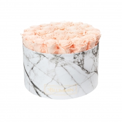 XL BLUMMiN - WHITE MARBLE BOX WITH PEACHY PINK ROSES