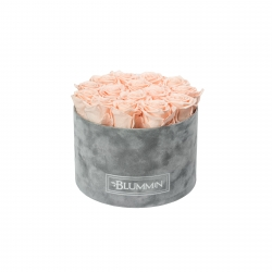 LARGE LIGHT GREY VELVET BOX WITH PEACHY PINK ROSES