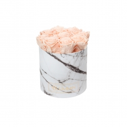 MEDIUM WHITE MARBLE BOX WITH PEACHY PINK ROSES