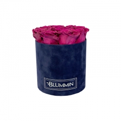 MEDIUM DARK BLUE VELVET BOX WITH PLUM ROSES