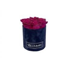 SMALL DARK BLUE VELVET BOX WITH PLUM ROSES